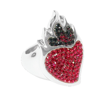 Silver ring Sacred Heart with fuchsia Swarovski Crystal Evolution