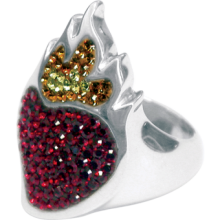 Silver ring Sacred Heart with red Swarovski Crystal Evolution