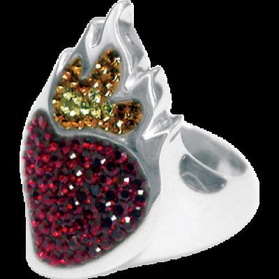 Anello Cuore Sacro Argento e Swarovski rossi Crystal Evolution