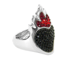 Silver ring Sacred Heart with black Swarovski Crystal Evolution