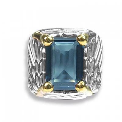 Anello Ali Argento dorato e Swarovski turchese Crystal Evolution