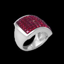 Anello Quadrato in Argento con Swarovski rossi Crystal Evolution