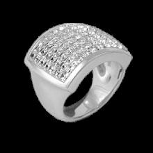 Anello Quadrato in Argento con Swarovski bianchi Crystal Evolution