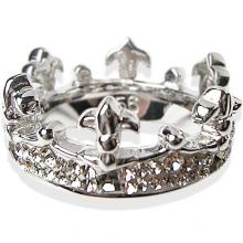 Silver Ring Crystal Evolution Crown with white Swarovski