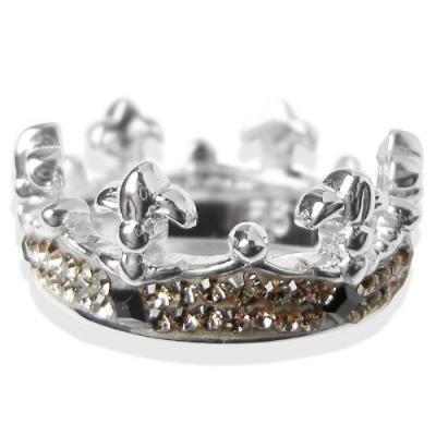 Anello Corona Argento e Swarovski grigi Crystal Evolution