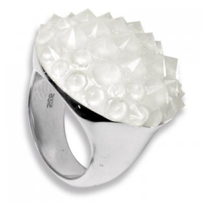 Anello rotondo in Argento con Swarovski bianchi Crystal Evolution