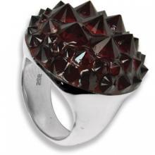 Anello rotondo in Argento con Swarovski rossi Crystal Evolution