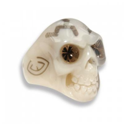 Anello Teschio beige in resina con occhi Swarovski Crystal Evolution