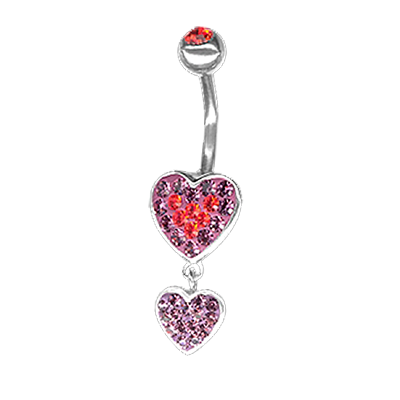 Crystal Double Heart Dangling Bananabell 01