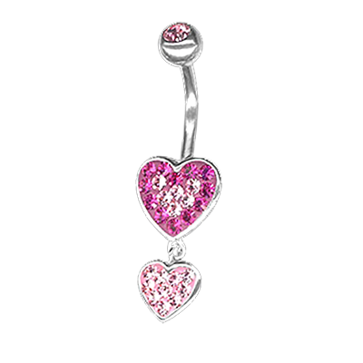 Crystal Double Heart Dangling Bananabell 02