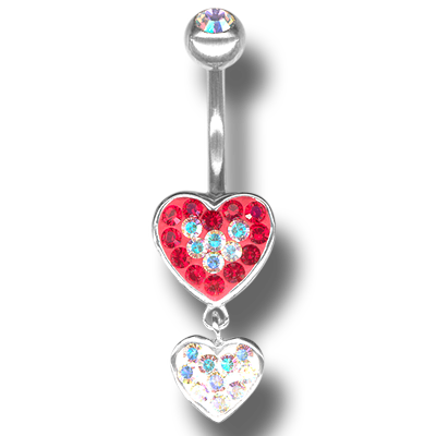 Crystal Double Heart Dangling Bananabell 05