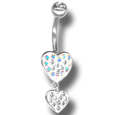 Crystal Double Heart Dangling Bananabell 07