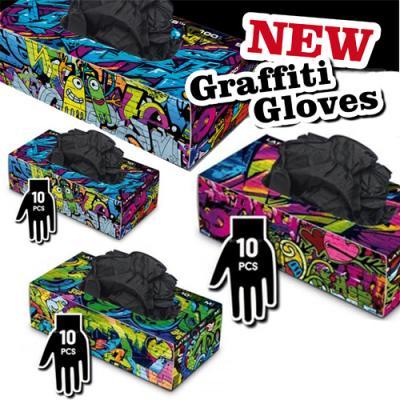 Graffiti Gloves - Guanti in Lattice Neri - box 10 pz