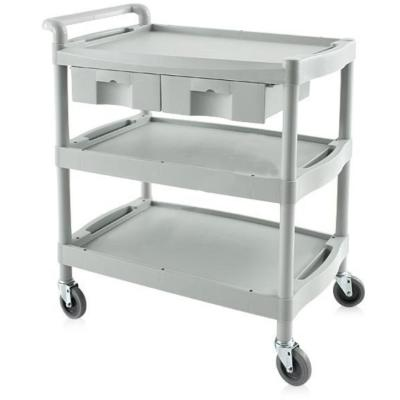 Cart with three shelves and drawers