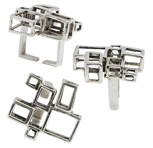 anello in argento hypercube