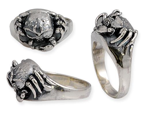 anello in argento con granchio