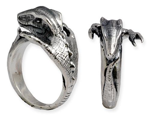 anello in argento con lucertola