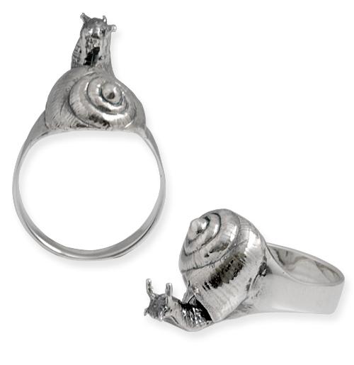 anello in argento con lumaca