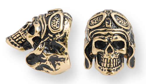 anello stile biker in bronzo con teschio aviatore