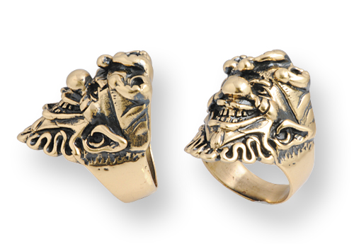 anello biker in bronzo con joker